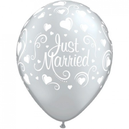 Just Married Sølv Ballonger